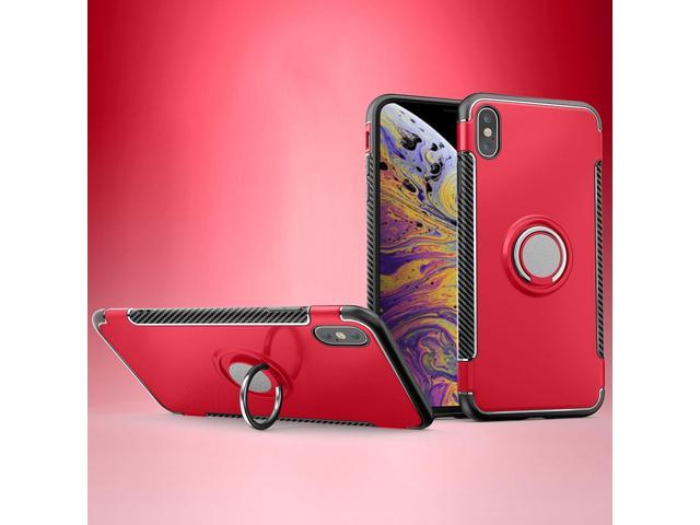 Magnetic 360 Degrees Rotation Ring Armor Protective Case for iPhone XS Max  (Red) - Newegg com