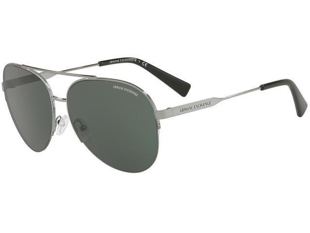 Armani Exchange Men's Semi-Rimless Gunmetal Aviator Sunglasses