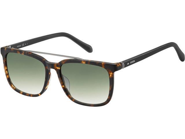 Fossil Men's Matte Havana Square Brow Bar Sunglasses FOS2090S - Sale: $19.99 USD (78% off)