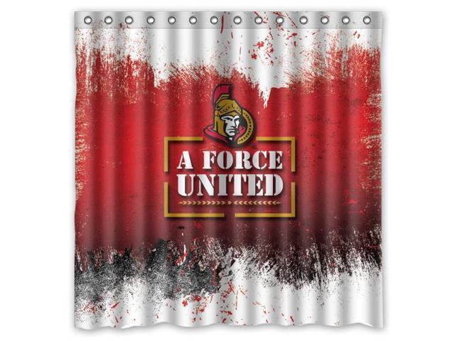 Ottawa Senators 03 NHL Design Polyester Fabric Bath Shower Curtain 180x180 Cm Waterproof And Mildewproof
