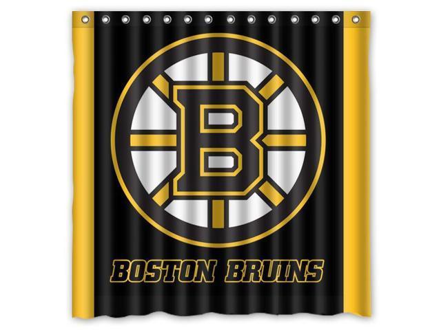 Boston Bruins 03 NHL Design Polyester Fabric Bath Shower Curtain 180x180 Cm Waterproof And Mildewproof