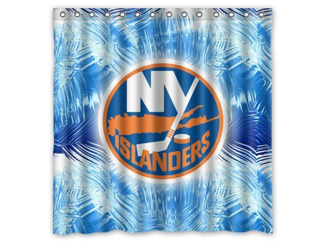 New York Islanders 02 NHL Design Polyester Fabric Bath Shower Curtain 180x180 Cm Waterproof And Mildewproof