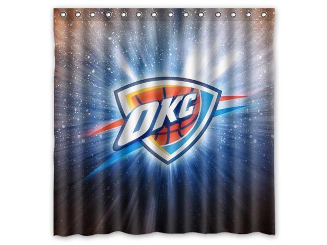 Oklahoma City Thunder 06 NBA Design Polyester Fabric Bath Shower Curtain  180x180 Cm Waterproof And Mildewproof