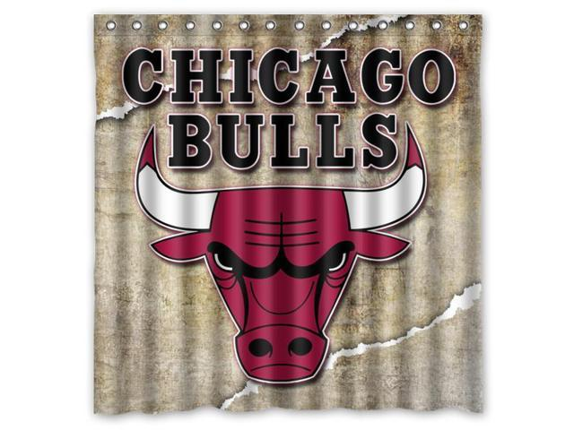 Chicago Bulls 02 NBA Design Polyester Fabric Bath Shower Curtain 180x180 Cm Waterproof And Mildewproof