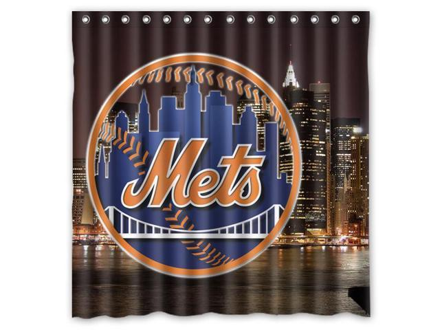 New York Mets 01 MLB Design Polyester Fabric Bath Shower Curtain 180x180 Cm Waterproof And Mildewproof