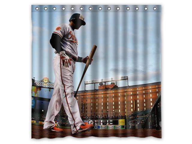 Baltimore Orioles 04 MLB Design Polyester Fabric Bath Shower Curtain 180x180 Cm Waterproof And Mildewproof Curtains