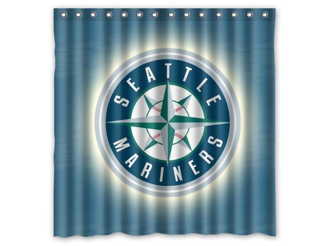 Seattle Mariners 01 MLB Design Polyester Fabric Bath Shower Curtain