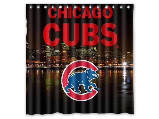 Chicago Cubs 02 MLB Design Polyester Fabric Bath Shower Curtain 180x180 Cm Waterproof And Mildewproof