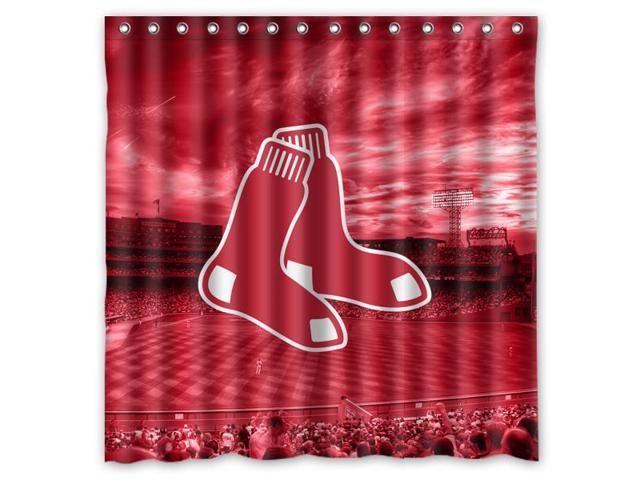 Boston Red Sox 02 MLB Design Polyester Fabric Bath Shower Curtain 180x180 Cm Waterproof And Mildewproof