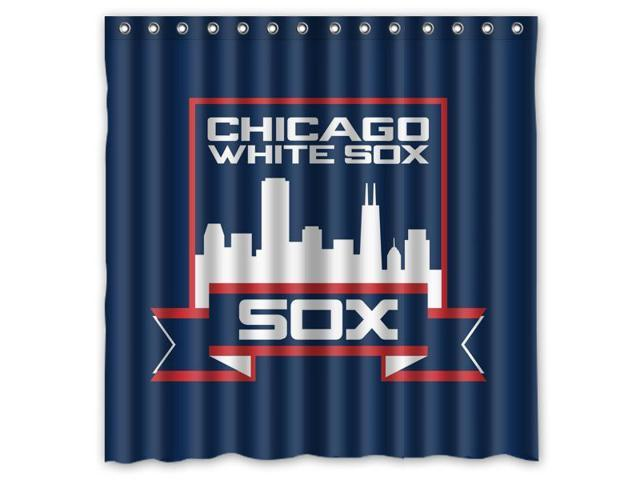 Chicago White Sox 03 MLB Design Polyester Fabric Bath Shower Curtain 180x180 Cm Waterproof And Mildewproof