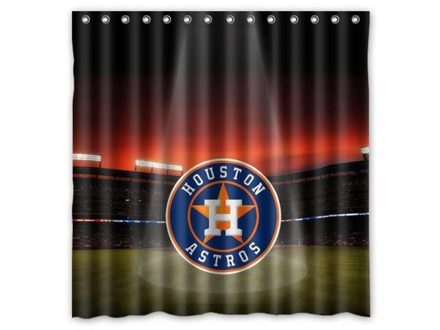 Houston Astros 01 MLB Design Polyester Fabric Bath Shower Curtain 180x180 Cm Waterproof And Mildewproof
