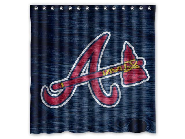 Atlanta Braves 02 MLB Design Polyester Fabric Bath Shower Curtain 180x180 Cm Waterproof And Mildewproof
