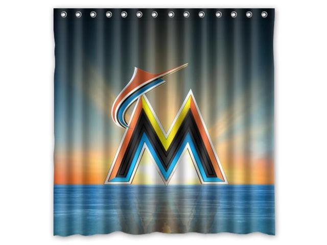 Miami Marlins 01 MLB Design Polyester Fabric Bath Shower Curtain 180x180 Cm Waterproof And Mildewproof