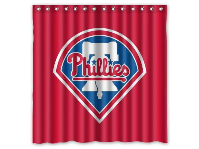 Philadelphia Phillies 03 MLB Design Polyester Fabric Bath Shower Curtain 180x180 Cm Waterproof And Mildewproof Curtains
