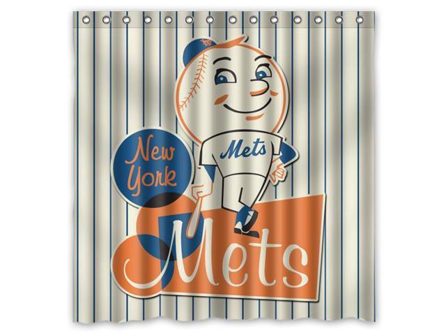 New York Mets 02 MLB Design Polyester Fabric Bath Shower Curtain 180x180 Cm Waterproof And Mildewproof