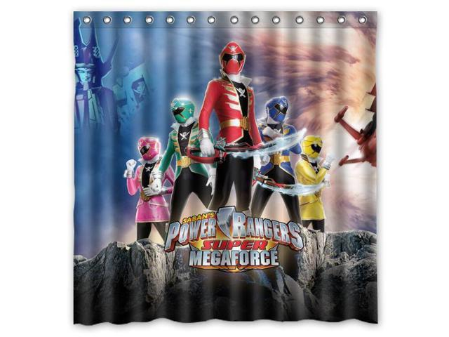 Sabans Power Rangers Super Megaforce Design Polyester Fabric Bath Shower Curtain 180x180 Cm Waterproof And Mildewproof Curtains