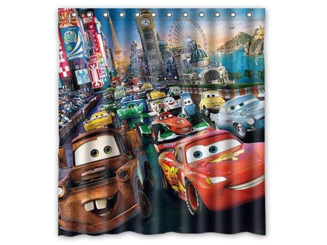 Cartoon Cars Lightning McQueen Design 66x72 Inch Bath Shower Curtains
