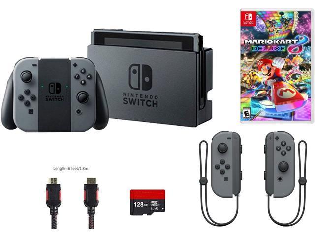 Nintendo Switch Bundle 5 Items Nintendo Switch 32gb Console Gray Joy Con 128gb Micro Sd Card Nintendo Joy Con L R Wireless Controllers Gray Mario