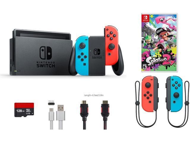 Nintendo Switch Bundle 6 Items 32gb Console Neon Red Blue Joy Con