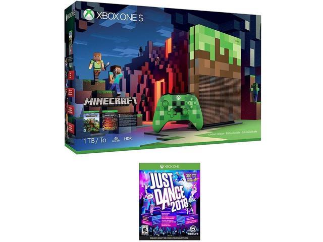 Xbox Minecraft Dance Bundle: Xbox One S 1TB Limited Edition Minecraft Console with Creeper Controller and Just Dance 2018 Game