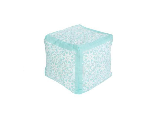 Strange 18 Mint Green And Cream Encompassed Flowers Square Outdoor Patio Pouf Ottoman Machost Co Dining Chair Design Ideas Machostcouk