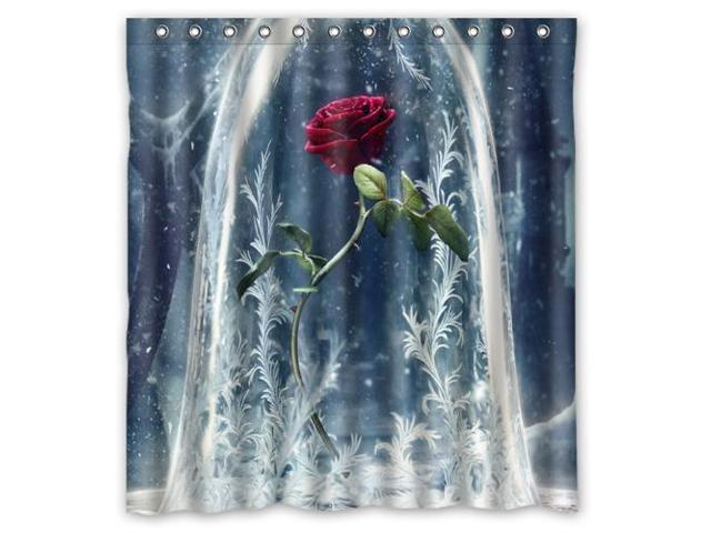 Unique Beauty And The Beast Bathroom Waterproof Polyester Fabric Shower Curtain Size66
