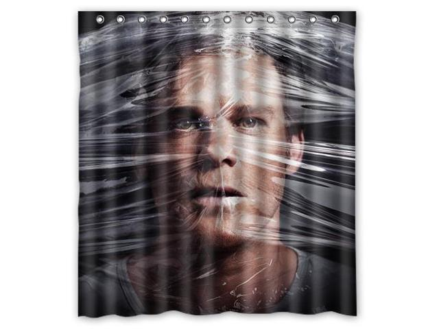 Fashion Design Dexter Bathroom Waterproof Polyester Fabric Shower Curtain With Hooks 66W