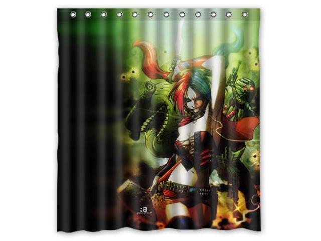 Eco Friendly Waterproof Shower Curtain Harley Quinn Bathroom Polyester Fabric 66