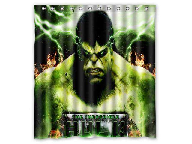 Custom Hulk Waterproof Shower Curtain High Quality Bathroom With Hooks 66W