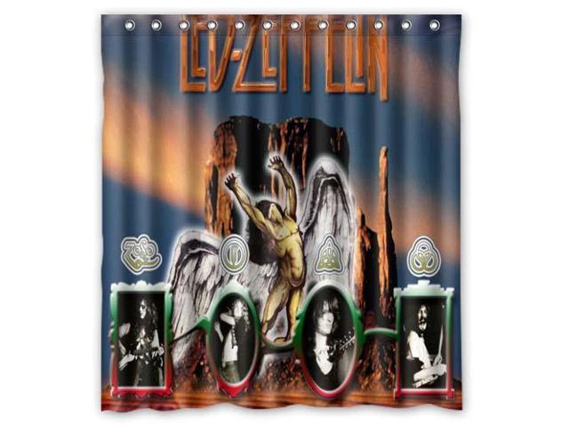 Fashion Design Led Zeppelin Bathroom Waterproof Polyester Fabric Shower Curtain With Hooks 66W