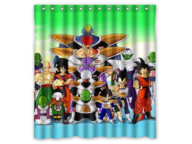 Waterproof Shower Curtain Dragon Ball Z High Quality Bathroom With Hooks 66W
