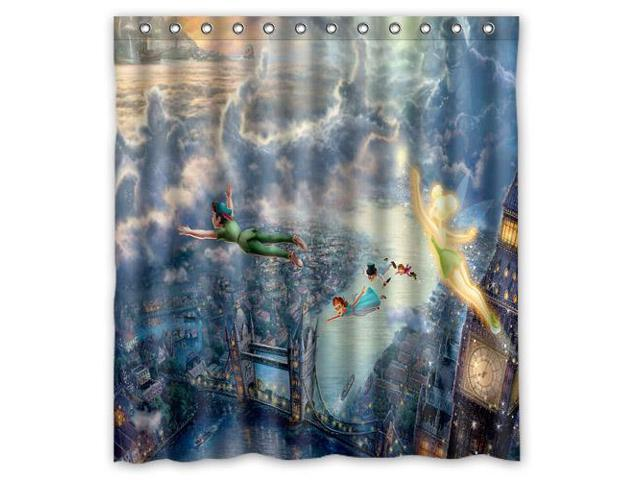 Bathroom Shower Curtain Waterproof EVA Peter Pan Home Decor Bath Fabric 60