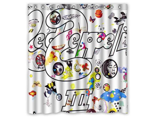 Eco Friendly Waterproof Shower Curtain Led Zeppelin Bathroom Polyester Fabric 66