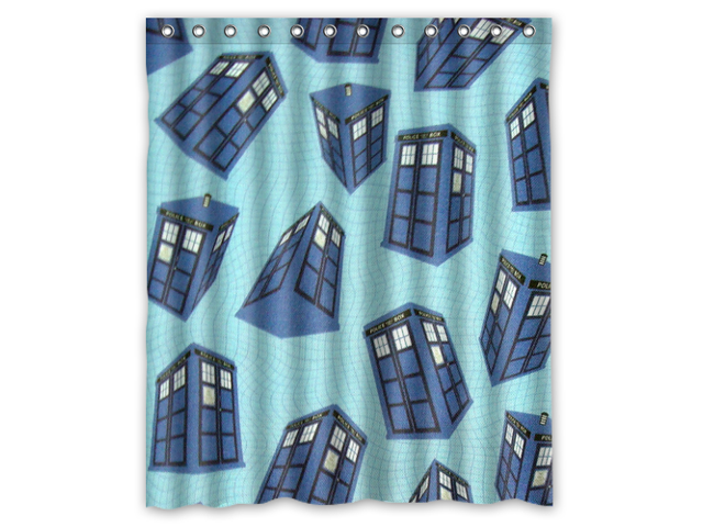 Bathroom Shower Curtain Waterproof Eva Doctor Who Tardis Police