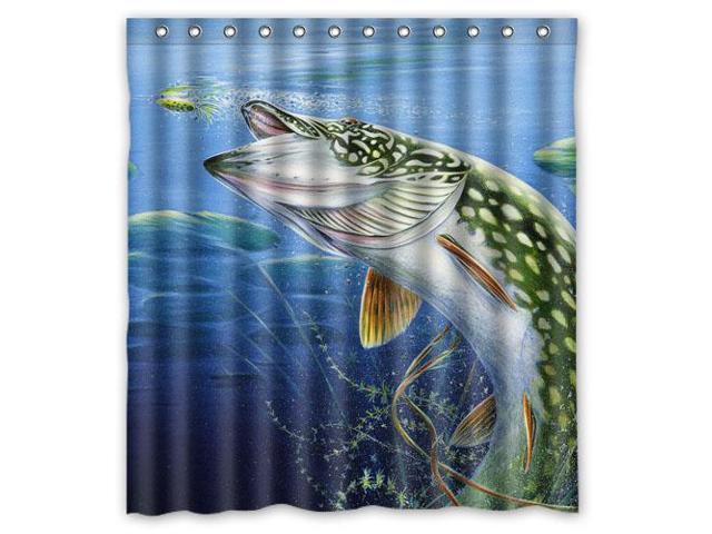 Bass Fishing Curtain: Eco-friendly Waterproof Shower Curtain Large Mouth Bass