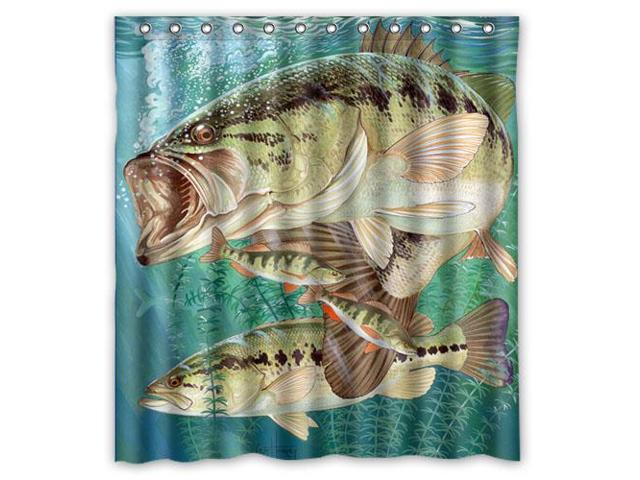 Bass Fishing Curtain: Custom Large Mouth Bass Jumping Out Of The Sea/Bass