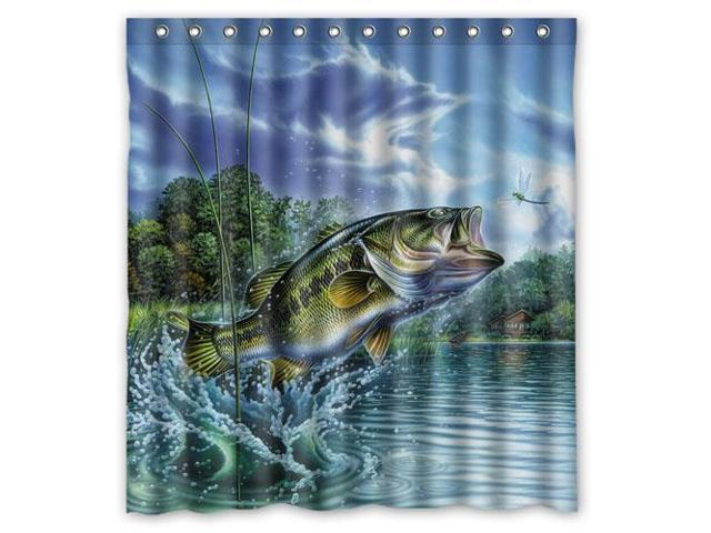 Bass Fishing Curtain: Fashion Design Large Mouth Bass Jumping Out Of The Sea