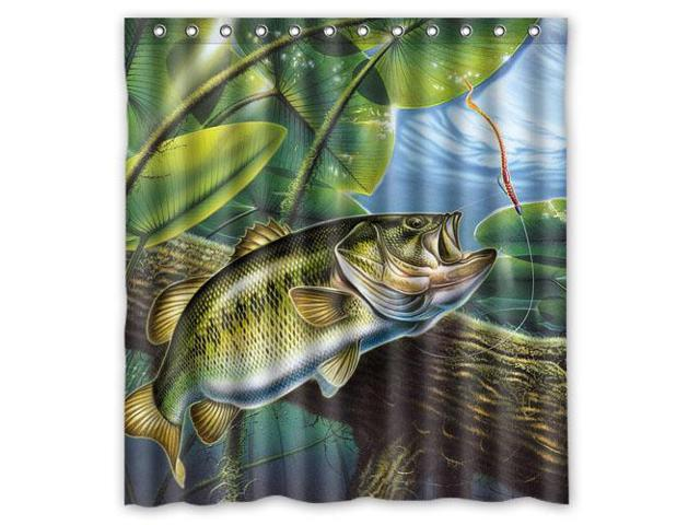 Bass Fishing Curtain: Home Decoration Bathroom Shower Curtain Large Mouth Bass