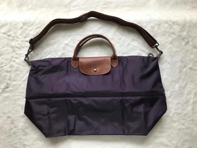 291afa0a660f Longchamp Expandable Le Pliage Travel Bag Duffel Tote Bilberry Auth