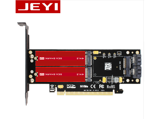 M.2 NVME to PCIe 3.0 x16 Adapter with Aluminum Heatsink Solution NVME SSD to PCI-e 3.0 x16 Host Controller Expansion Card