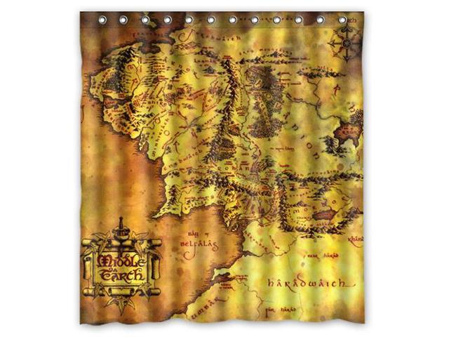 Custom The Lord of The Rings Map Waterproof Shower Curtain High ...