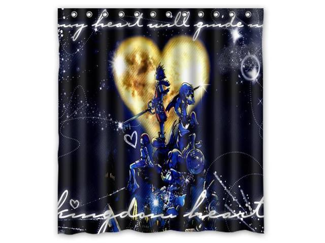 Personalized High Quality Kingdom Hearts Waterproof Shower Curtain Bathroom With Hooks 66W
