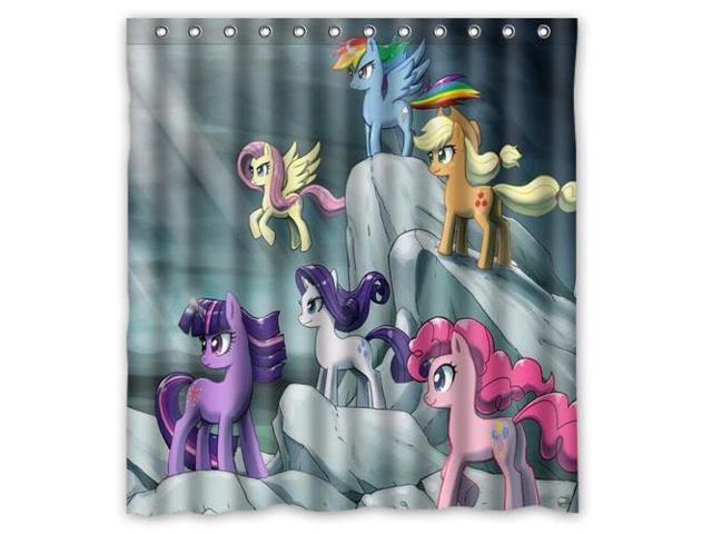 Fashion Design My Little Pony Bathroom Waterproof Polyester Fabric Shower Curtain With Hooks 66