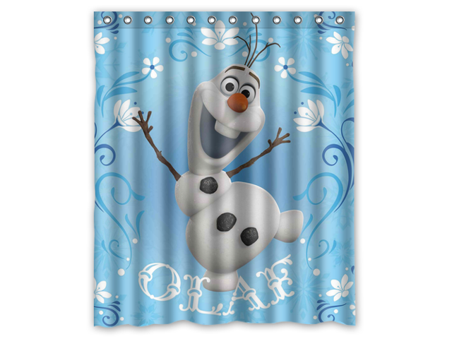 Fashion Design Frozen Bathroom Waterproof Polyester Fabric Shower Curtain With Hooks 66W