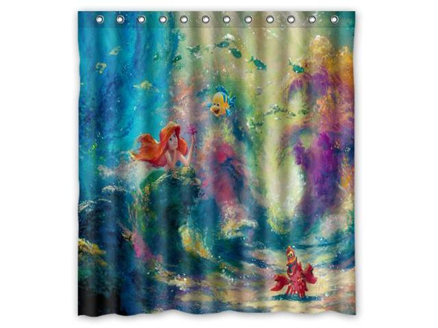 Fashion Design The Little Mermaid Bathroom Waterproof Polyester Fabric Shower Curtain With Hooks 60