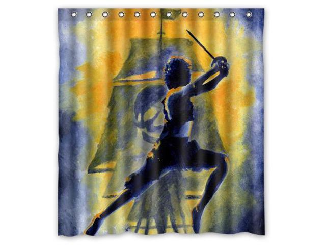 Custom Peter Pan Waterproof Shower Curtain High Quality Bathroom With Hooks 66W