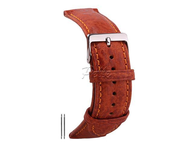 1669c4e2e 20mm Genuine Leather Watch Band Vegetable-Tanned Leather Watch Strap Stone  Pattern Replacement Wrist Strap Brown Color