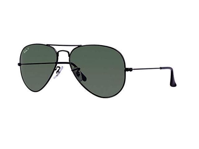 29f62a4809ac Ray Ban RB3025 Aviator Metal Classic Sunglasses - Black Frame/Green Lenses  (58mm)
