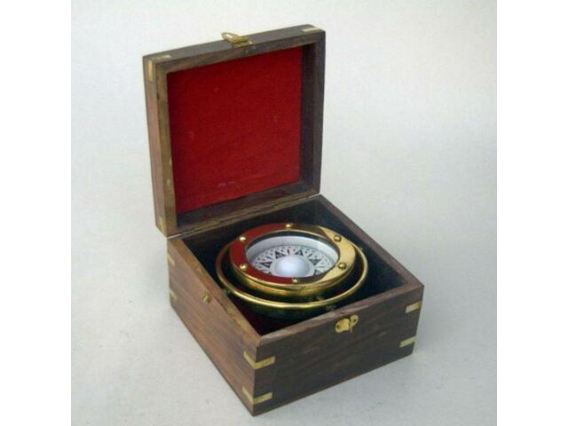 New Gimbaled Compass In Wood Box Nautical Nau Br48402 Newegg Com