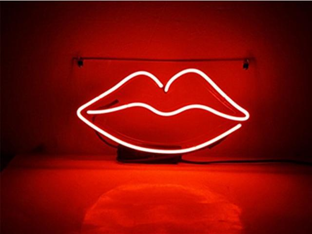 neon signs lip kiss beer bar pub recreation room lights windows wall signs or for christmas